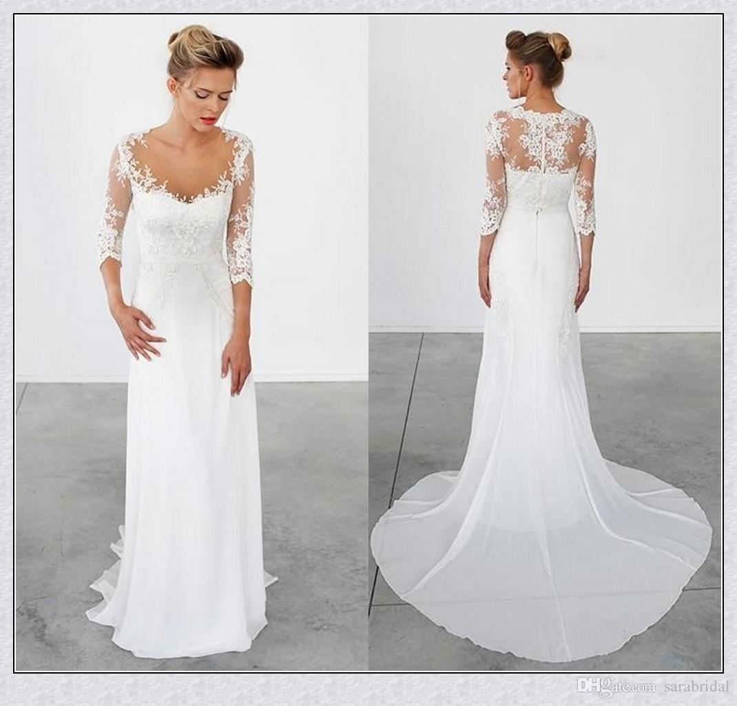 Discount beach wedding dresses with half sleeves 2015 sheer discount beach wedding dresses with half sleeves 2015 sheer neckline 12 sleeves bridal dresses vintage wedding gowns with appliques xs strapless a line ombrellifo Image collections