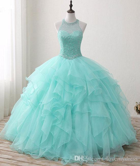 Light Aqua 2018 Cheap Sweet 16 Girls Party Prom Dresses Sheer Neck Keyhole Back Crystal Beaded Ball Gowns With Ruffles Quinceanera Dresses