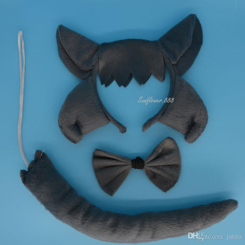 Prince Boy Kids Man Animal Ear Headband Bow Tail Wolf Cosplay Party Favors Halloween Stage Show Hair Accessories
