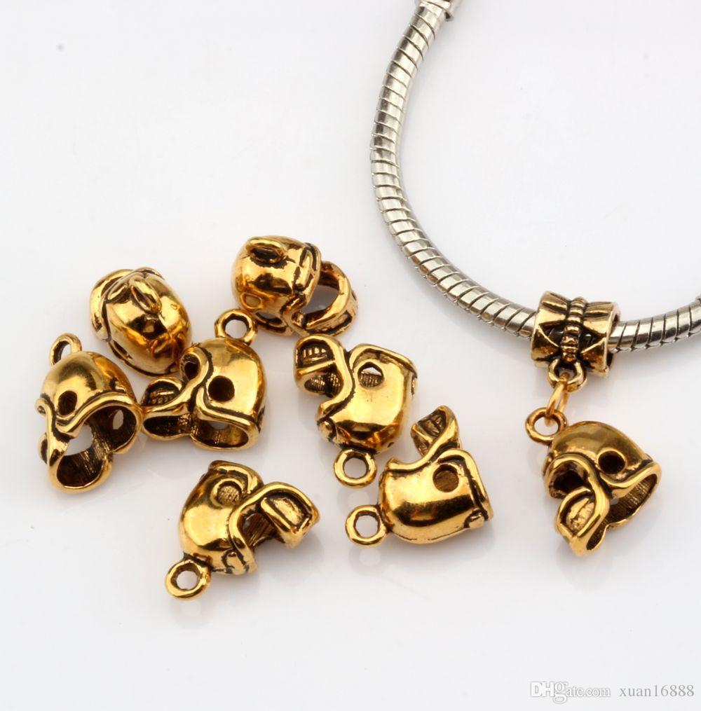 MIC Antique gold 3D Small Football Helmet Charms pendants DIY Jewelry 13 x11mm