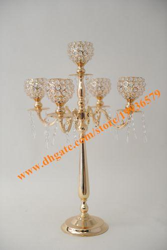 Hot sales 5 Arms Silver Metal wedding Candelabras centerpiece with Crystal globe
