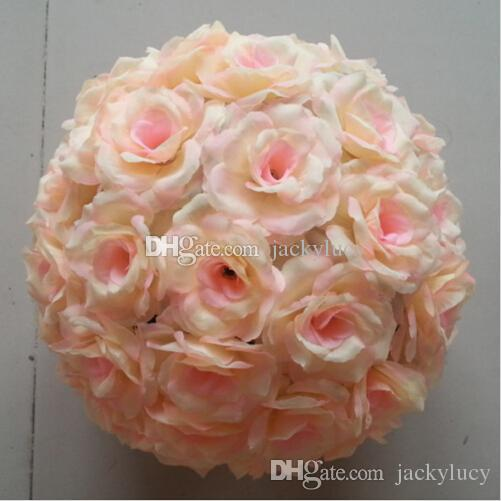 15 CM to 50cm Available Upscale Artificial Silk Flower Ball Hanging Rose Kissing Balls For Wedding Party Decoration Supplies
