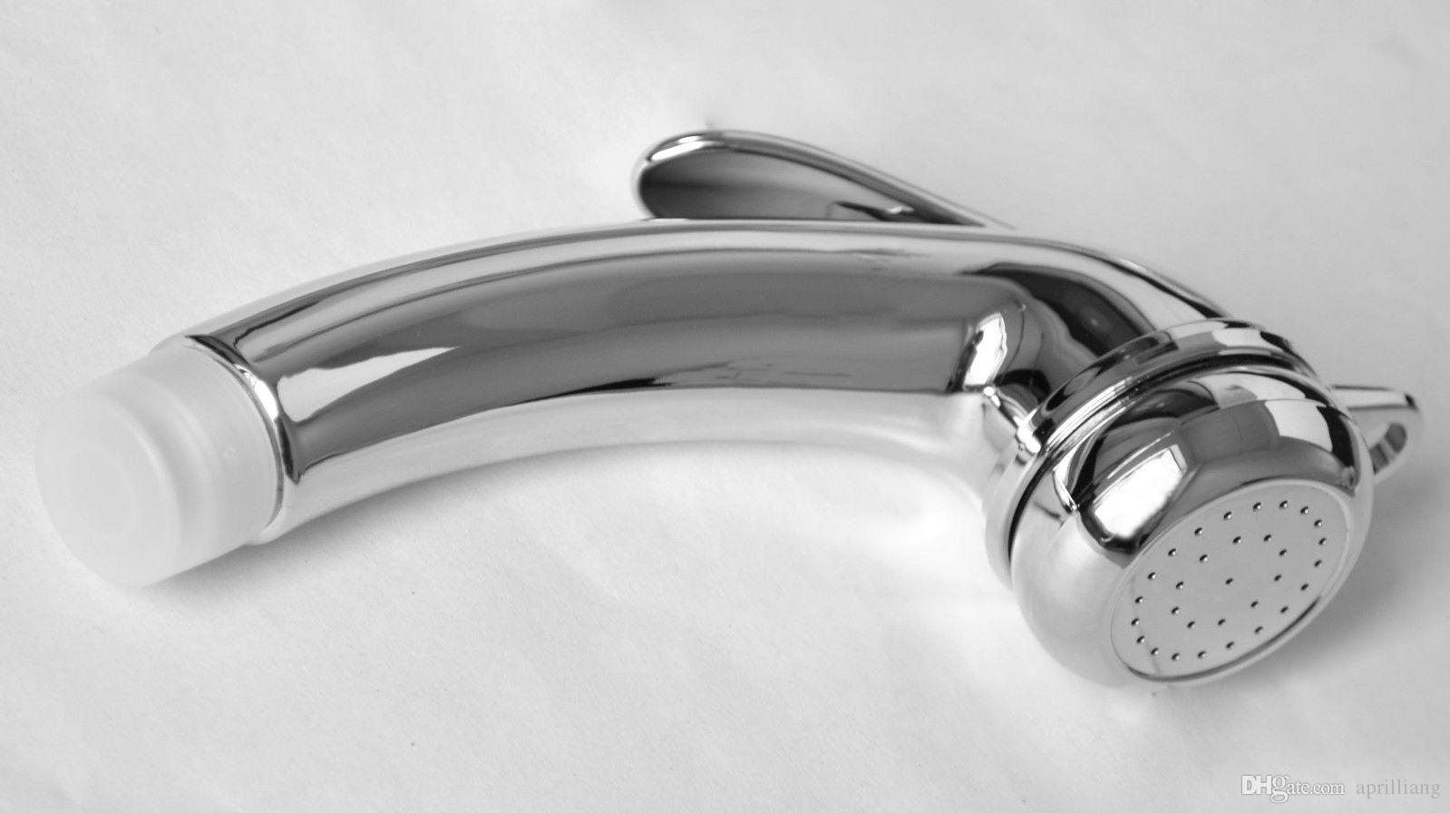 "Bathroom Toilet ABS Bidet Sprayer Single Head Hand Held Chrome Polished Douche Shattaf Diaper Wash Spray Shower Nozzle G1/2"" Size Portable"