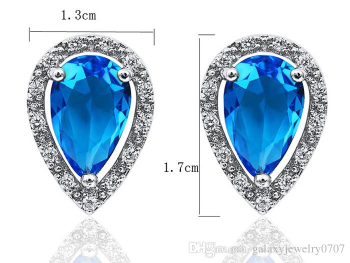 Luxury Bright Blue Cubic Zirconia Jewelry Sets 18K White Gold Plated Fashion Crystal Zircon Water Drop Necklace & Stud Earrings Set ZS101