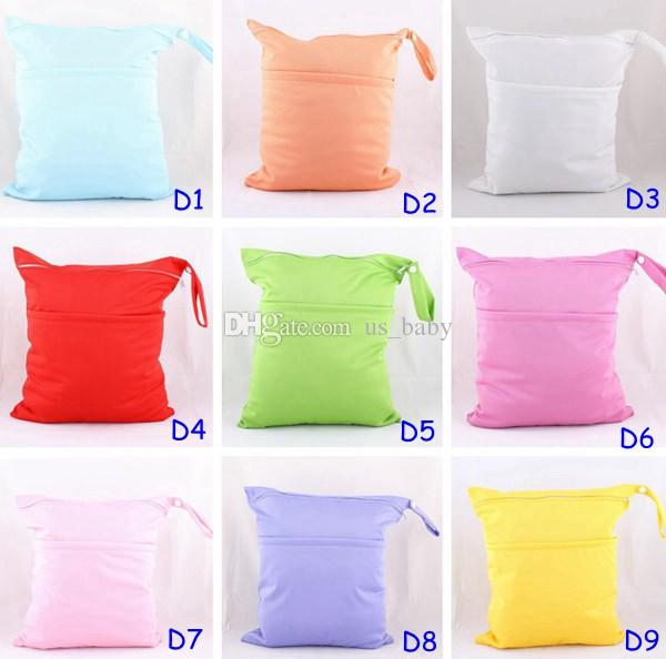 Fedex UPS 9 Solid Colors AI2 Baby Diaper Wet Bags Mommy Wet Diaper Bags Infant 2 Zippers Pockets Bags Waterproof TPU Diapers
