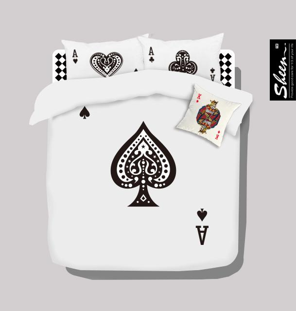 Poker Black And White Bedding Set Queen Size Doona Quilt Duvet Cover