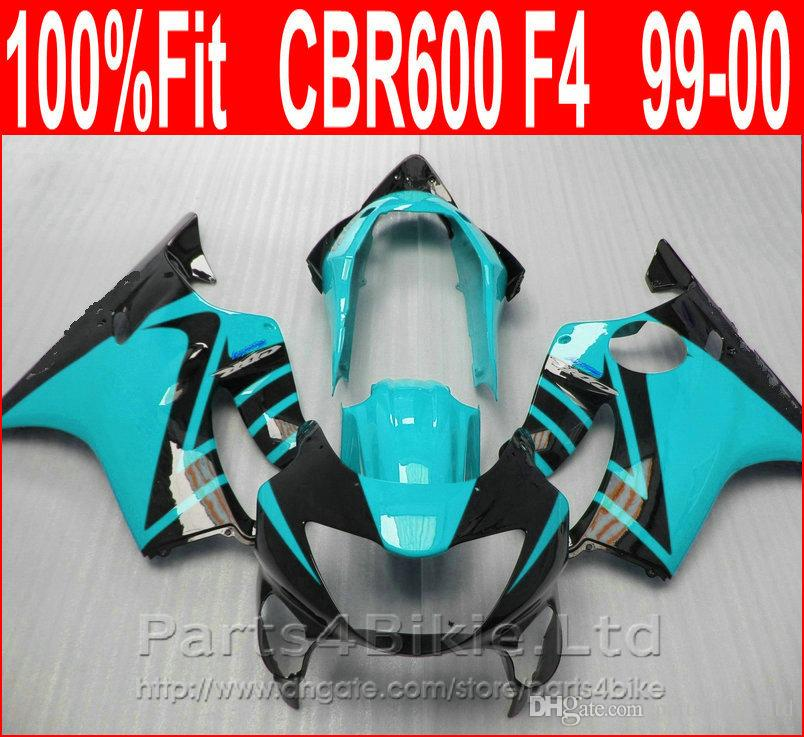 Light blue black Fitment Body parts for Honda CBR 600 F4 custom fairings 1999 2000 fairing kit CBR600 F4 99 00 SLVE