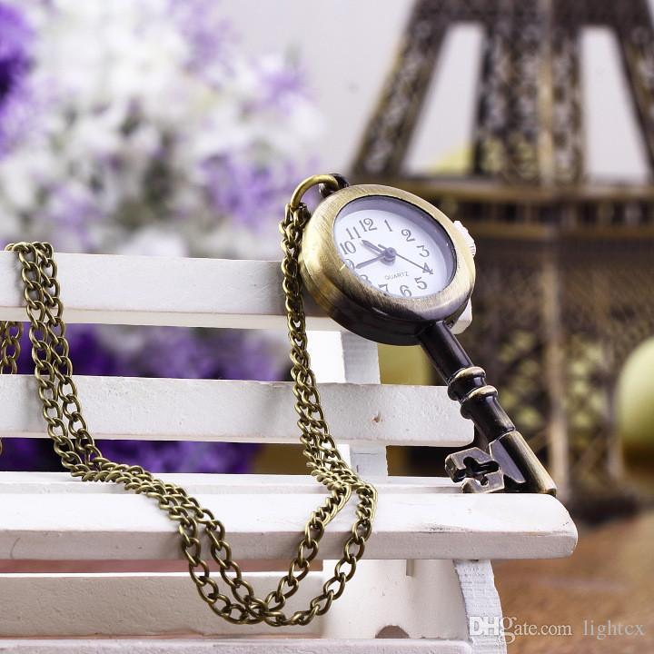 Montre de poche étudiante vintage antique forme de clé pendentif Vinta horloge bronze montre de poche pendentif collier bague pour filles garçons
