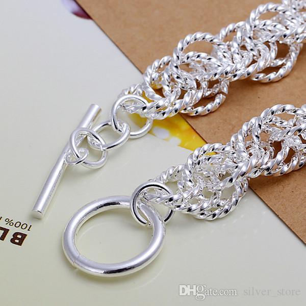 Sıcak satış hediye 925 gümüş Flaş Kaba daire bilezik DFMCH240, Yepyeni 925 gümüş kaplama Zincir bağlantı bilezik yüksek dereceli çevirin