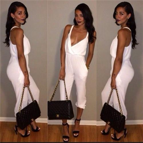 2019 Rompers Women 2015 Sexy White Jumpsuits Spaghetti Strap Loose