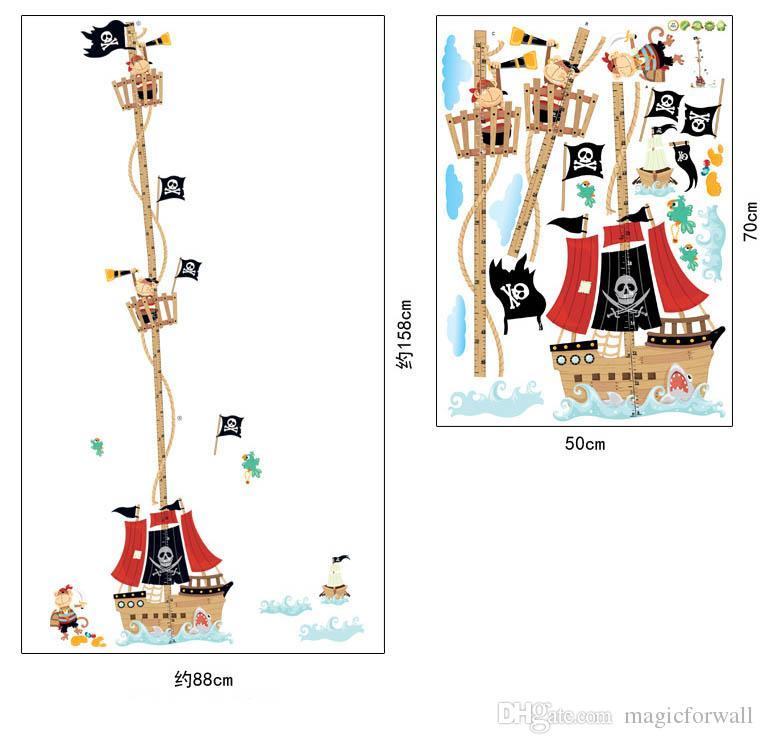 Barco pirata Wall Art Mural Poster Decalque Crianças Quarto Nursery Decalque Da Parede Decor Clássico Decoração Da Parede Do Barco Do Pirata Decal Adesivo