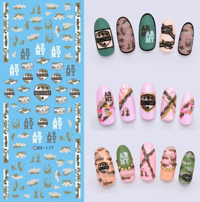 Ds177 diy new water transfer nails art sticker army military see larger image prinsesfo Choice Image