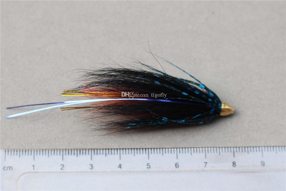 Tigofly 24 шт. / Лот BlueBlack Перо Трубка с конусообразной головкой Fly Streamer Fly Лосось Форель Steelhead Fly Fishing Приманки мух