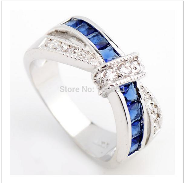 New In 2014 Fashion Jewelry Lady`s 10KT White Gold Ring With Sapphire Finger Women Rings The Size6/7/8/9/10