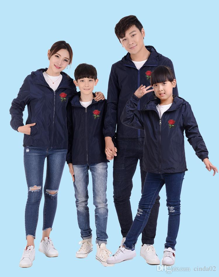 Mens Women Kids Roses Floral Print Jackets Family Clothing Tops Outerwear Thin Coats Jackets Active Casual Slim Windbreaker Plus Size