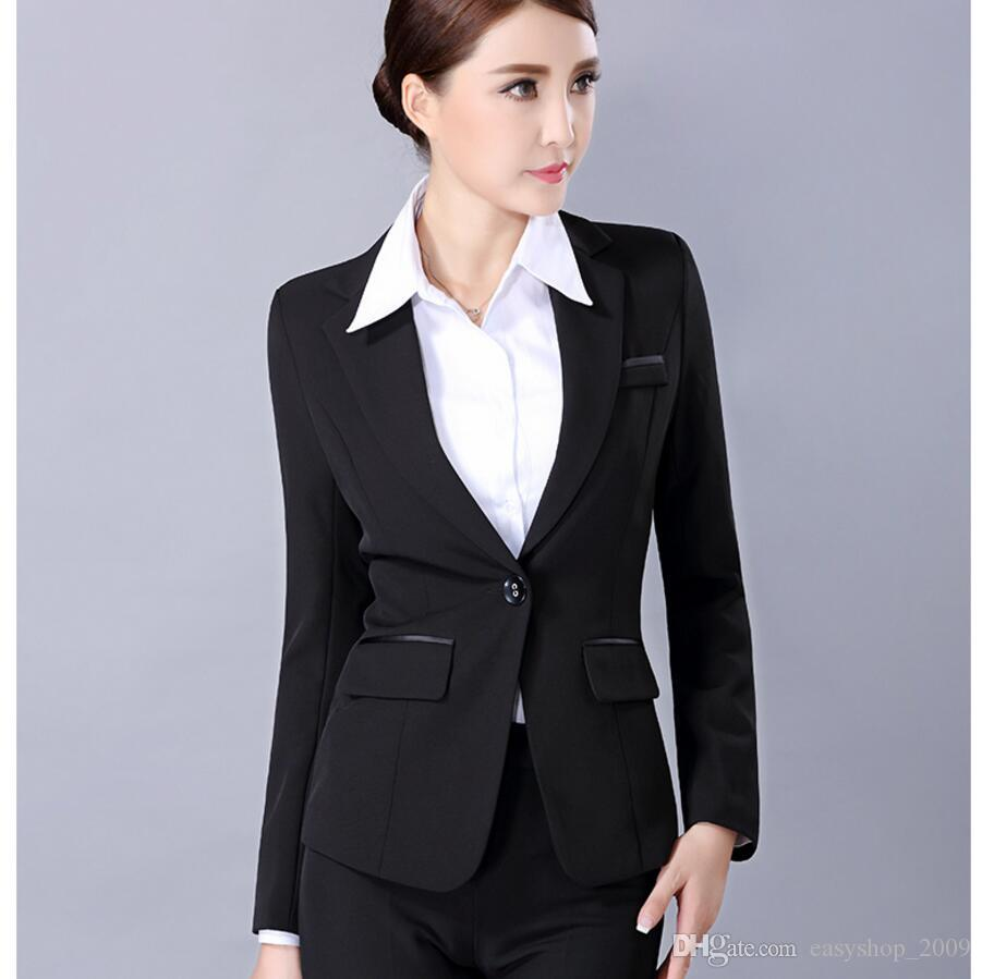 Herbst und Winter Frau Anzug lange Hülse formale Gelegenheit Damen Anzug Interview schwarze Farbe hohe Qualität Frau Anzug