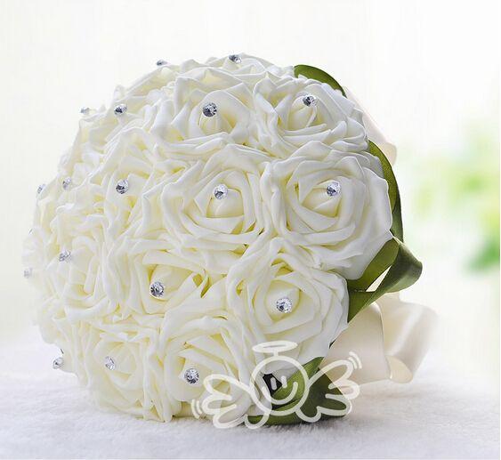 2015 glamorous white rose wedding bridal bouquet hand made flowers see larger image mightylinksfo
