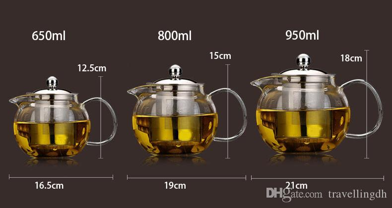 High quality Heat Resistant Glass Tea Pot,Chinese Flower Tea Set Puer Kettle Coffee Teapot Convenient With Infuser Office Home