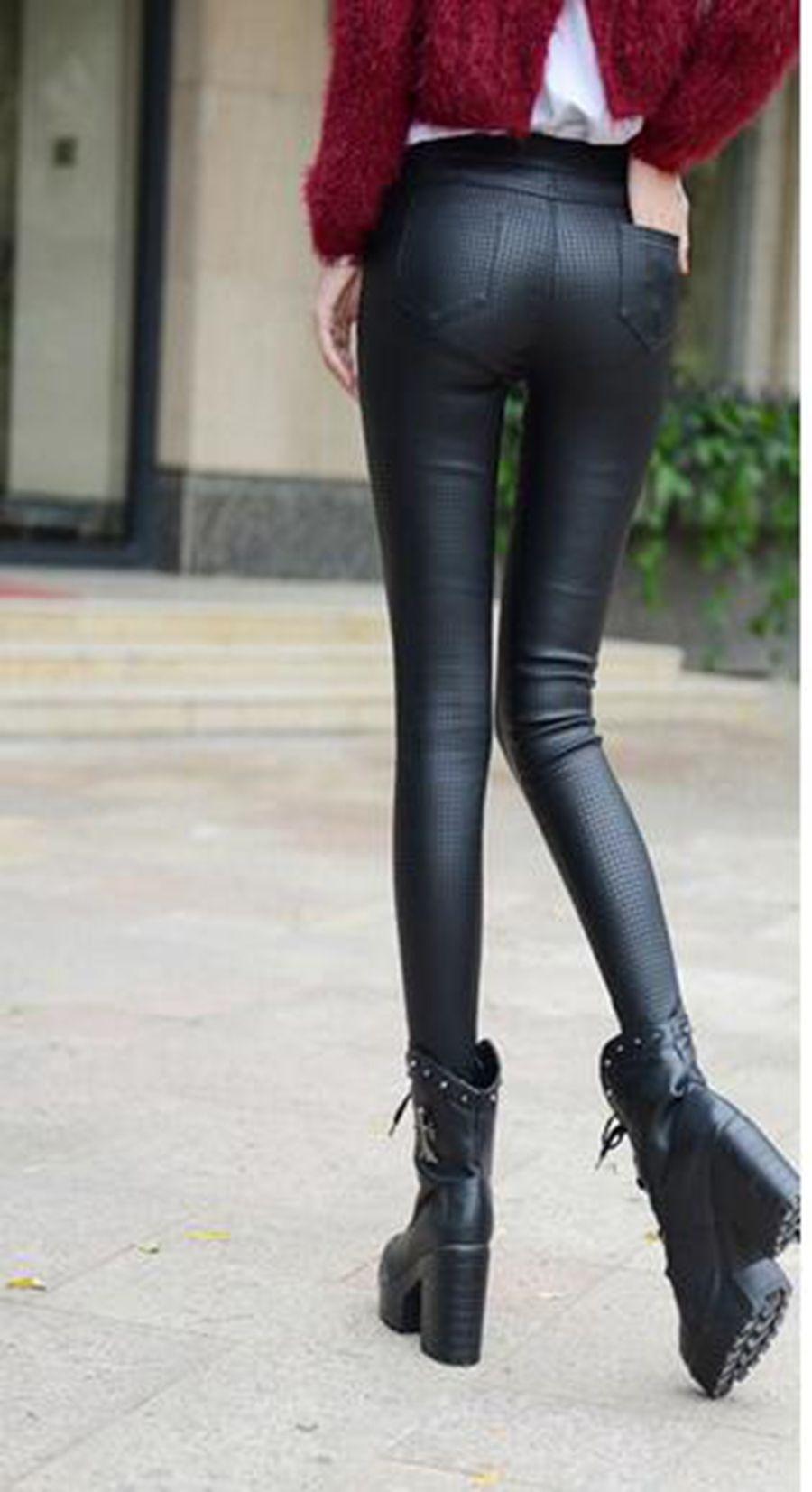 한판 카운터 정통 패션 여성 새 겨울 양모 따뜻한 꽉 높이 허리 풋 펜슬 가죽 바지를 추가합니다. S - 3xl