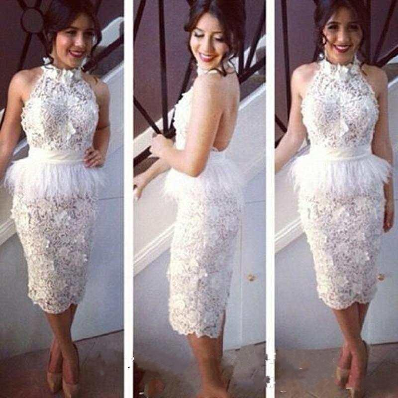 New Fashion Lace Cocktail Dresses Sheath Feather White Party Dress