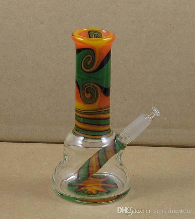 Mini in vetro da 4 pollici dab Bong rasta colorato rig olio w-ax WK-023 giunto 10mm