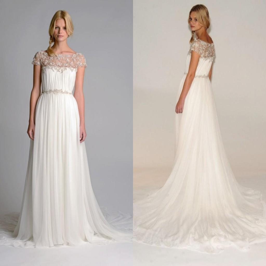2017 Fashion Marchesa Wedding Dress Bateau Neckline A. White Crystals  Beaded Spaghetti Strap Train Chiffon ...