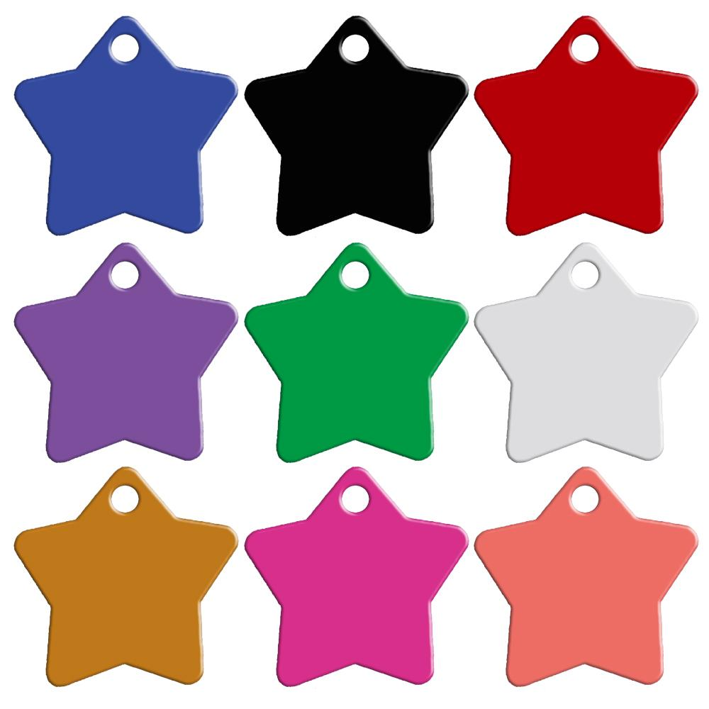 Mixed Colors 2 Sides Star Shape Personalized Dog ID Tags Customized Cat Pet Name Phone No.Don't offer Engrave Service