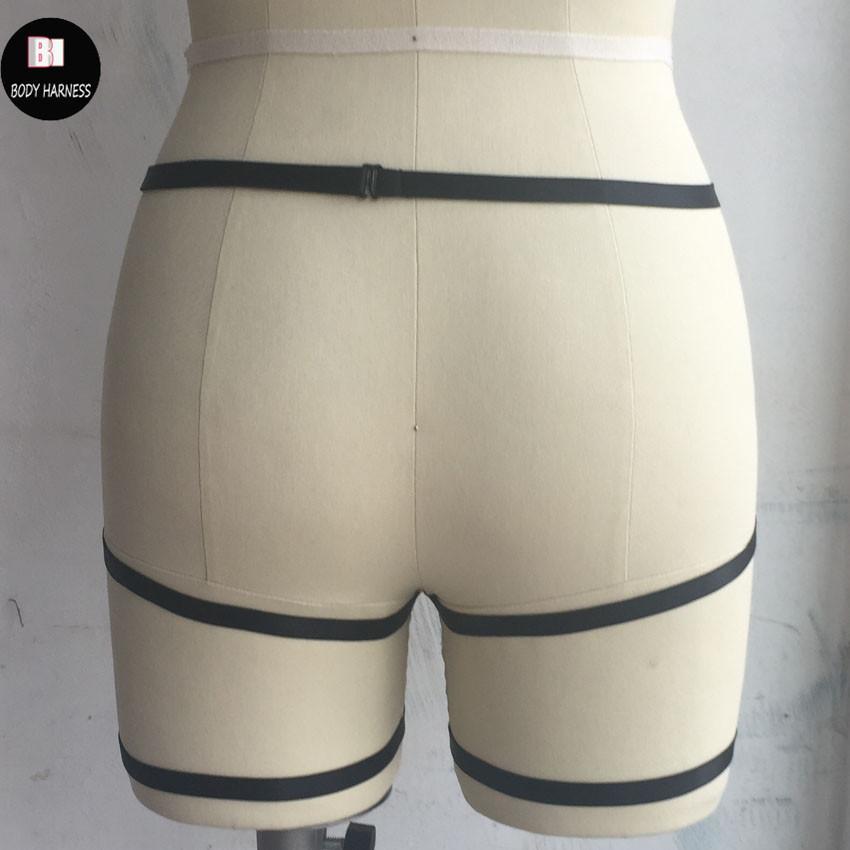 пастель гот бондаж белье подвязки для новобрачных подвязки ручной работы черный тело жгут Harajuku подвязки пояс