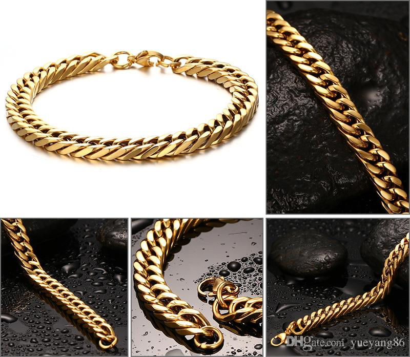 Top Selling High Quality Fine Christmas Gift For Husband 8.66'' 8mm Stainless Steel Fashion Yellow Gold Cuban Chain Bracelet