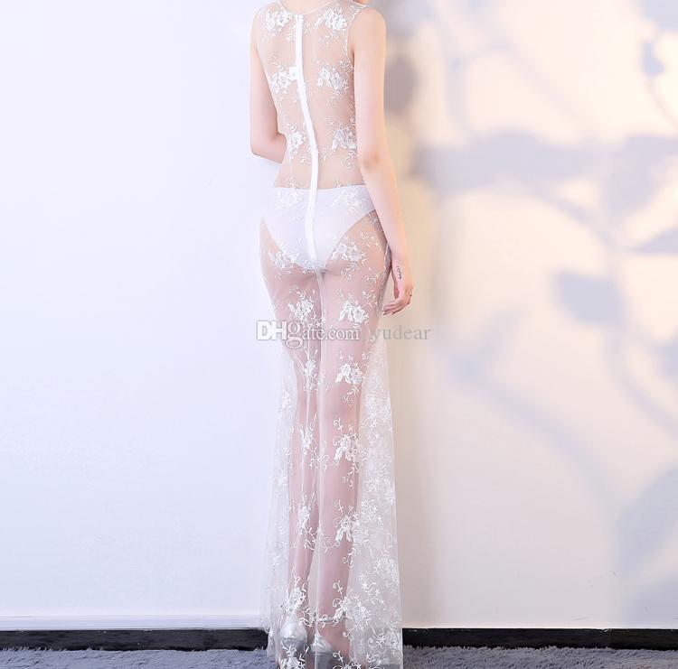 2018 New Fashion Sexy V-neck Women Prom Dresses Skinny Hot Club Wear Gorgeous Party Dress Lace See Through Body Auto Show Model Chic