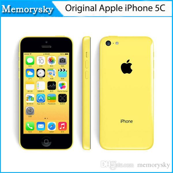 Original remis à neuf Apple iPhone 5C Unlocked Mobile Phone 3G WCDMA 16 Go 32 Go Dual Core IOS 8 Retina 1 Go 8MP 1080P GPS Smartphone 002849