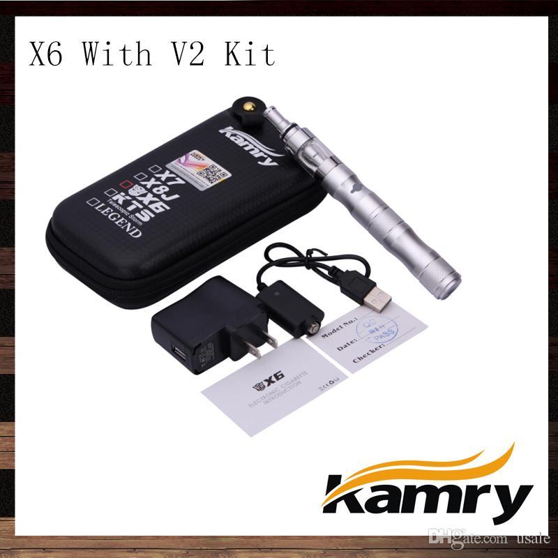 Kamry Ego X6 V2 ECIGARETTE KIT STARTER 1300MAH VOLTABILE VOLTAZIONE X6 BATTERIA ELETTRONICA Sigaretta con atomizzatore V2 100% originale