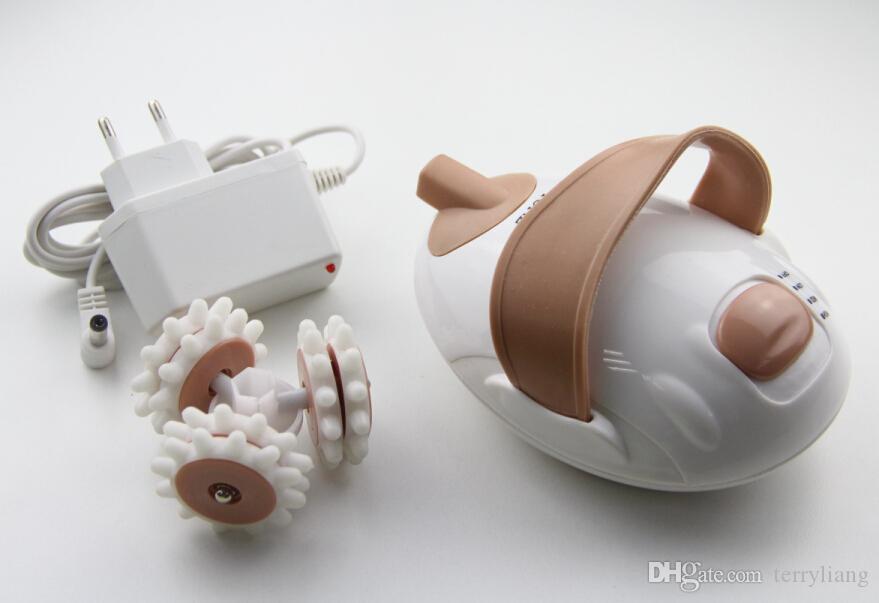 مصغرة المحمولة تدليك الاسترخاء التخسيس تدليك الجسم 6 بكرات السيلوليت الأسطوانة الكهربائية نحت الوجه مدلك الفخذ الجسم أنحل