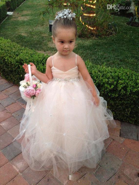 2019 Wysokiej Jakości Little Princess Bow Wstążka Różowy Tulle Spaghetti Urodziny Dziewczyny Toddler Pagewant Suknie Kwiat Girl Sukienki