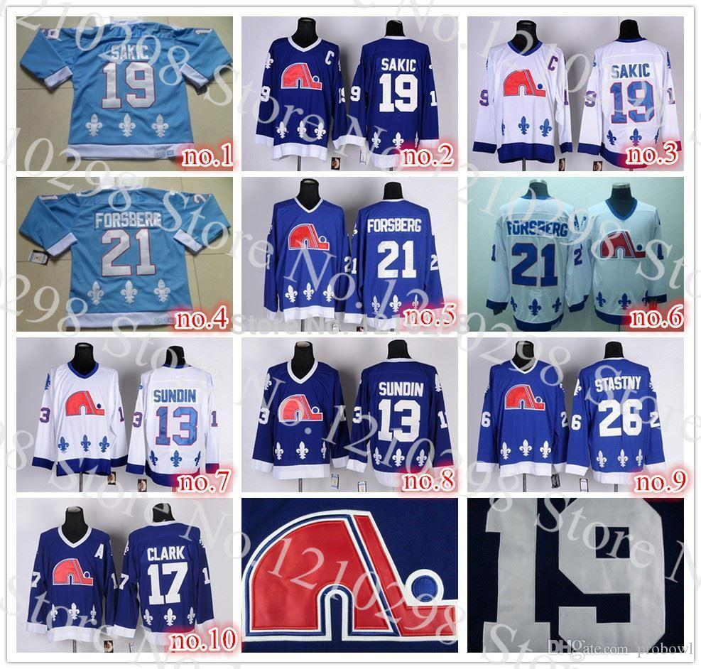 On Sale Quebec Nordiques  19 Joe Sakic Jersey C Patch  21 Peter Forsberg  Hockey Jersey Good Quality  13 Sundin Navy Blue Jersey Canada 2019 From  Probowl e91174778