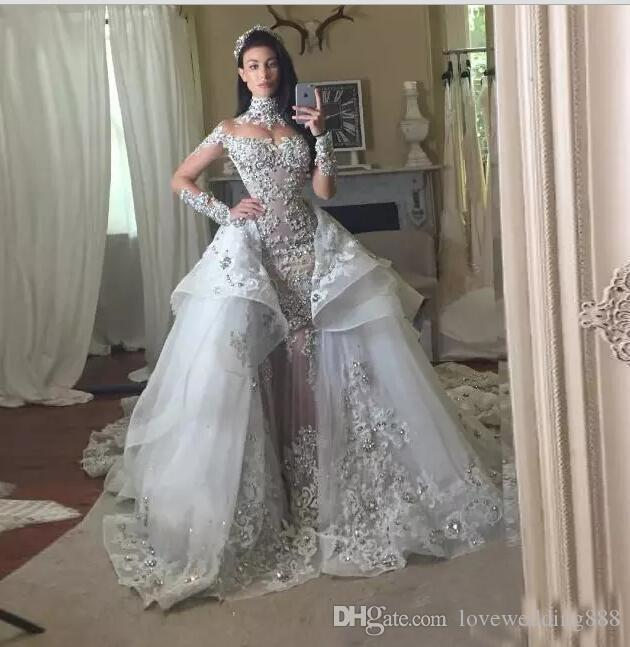 2018 Gorgeous Crystal Wedding Dresses With Detachable Skirt High Neck Long Sleeves Beaded Applique Wedding Gowns Court Train Bridal Dress