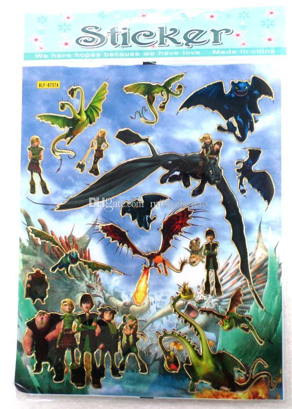 Nouveau dessin animé de 50 feuilles Comment dresser votre dragon Mini autocollant dessin animé autocollant sticker mural cadeau de fête