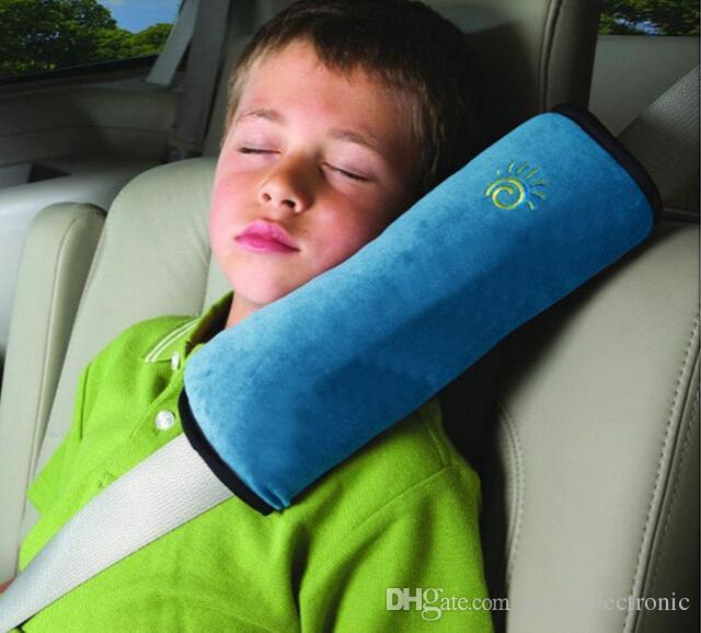 الطفل سلامة السيارة حزام حزام الكتف وسادة وسادة غطاء وسادة دعم وسادة الوردي الأزرق