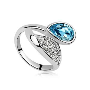 New arrival Korean style ring leaf drop Austria crystal open ring with gemstone plating KC gold wedding rings