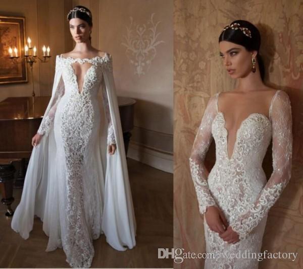 인어 탈착식 쉬폰 망토 깊은 목 긴 소매 깎아 지른 얇은 웨딩 드레스 웨딩 드레스 웨딩 드레스