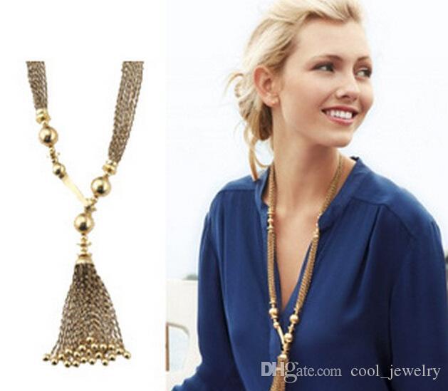 Изящные ювелирные изделия винтажного бренда Золотые кисточки с подвесками-подвесками для женщин с длинной цепью Y острые аксессуары оптом