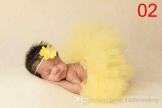 9 색상 아기 소녀 어린이 투투 스커트 + 뜨개질 머리띠 세트 NewbornToddler 복장 멋진 의상 귀여운 사진의 정장 생일 선물