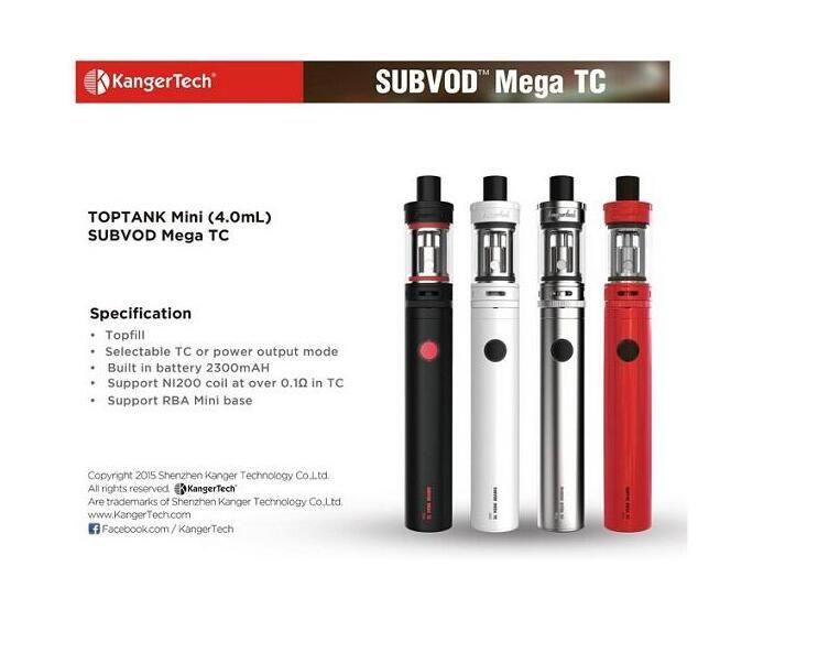 2018 Newest arrival Kangertech SUBVOD Mega TC Kits 2300mAh Battery 4.0ml Kanger TOPTANK Mini Topfill Atomizer Gift Box
