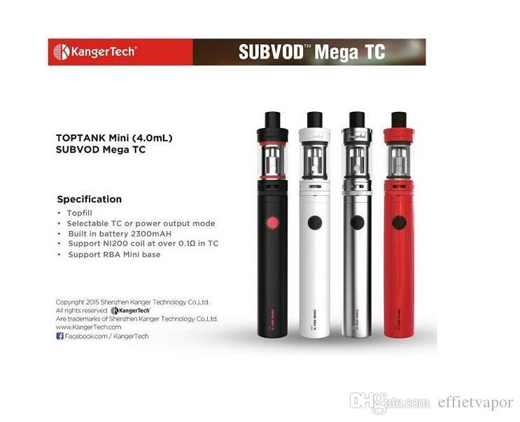 original Kange Newest design Subvod Mega/Subox Mini 4.0ML Temperature control 2300mah kit Original Kanger Subvod Mega TC Kit