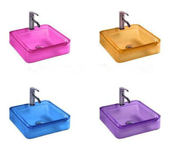 Rectangular Bathroom Resin Acrylic Counter Top Sink Vesel Solid surface Stone Boakroom Vanity Colored Wash Basin 3861