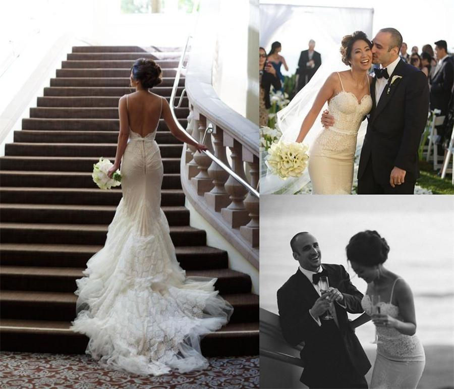 2015 Spaghetti Straps Wedding Dresses New Arrival Beach Theme Gowns Vintage Lace Mermaid Dress With Chapel Train Backless