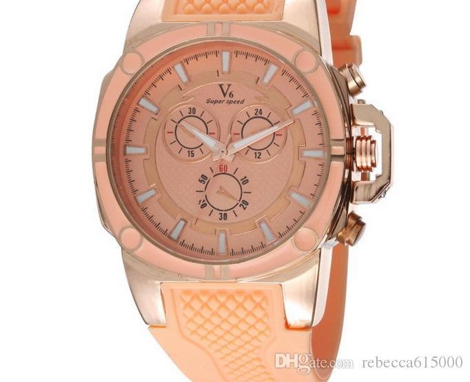 2015 venta caliente Nuevo V6 Casual Relojes de Cuarzo Relojes de deporte para hombre Reloj de pulsera Dropship Reloj de silicona Horas de moda Reloj Vestido REGALO DE NAVIDAD