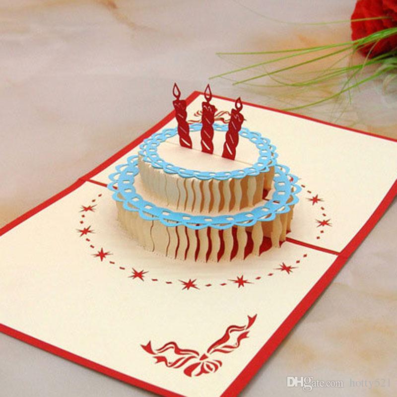 3d Birthday Cake Pop Up Gift Greeting Blessing Cards Handmade