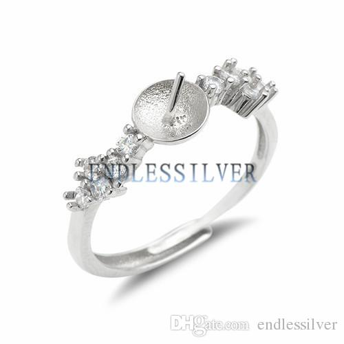 Ring With Side Stones Zircons 925 Sterling Silver Ring Accessories with Pearl Seat for Pearl Party
