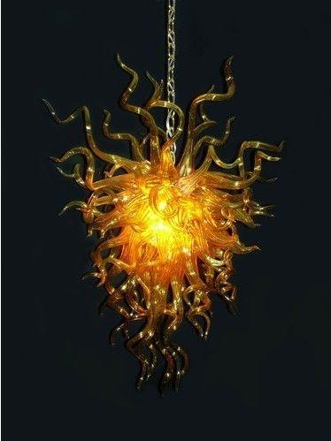 Amerikanische Lampen Stil Kronleuchter Decke Fan Lights Moderne Kunst Licht LED Birnen Hand Geblasene Goldene Glas Anhänger Beleuchtung